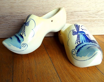 Handmade clogs for women size 5  womens wooden clogs Dutch wooden clogs handpainted blue white wooden shoes made in Holland