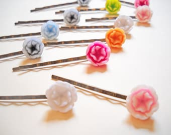 Flower Bobby Pins Hair Pins Vintage Style Assorted Colors Set of 10 Antiqued Bronze Hair Accessories Wholesale