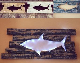 Backlit shark wall art