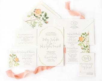 Greenery Wedding Invitation with Peach Rose Envelope Liners - Greenery Invitation - Peach and Green Invitations - SAMPLE SET