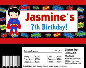Editable Superman Superhero Candy Bar Wrappers INSTANT DOWNLOAD