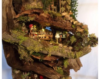 Fairy house, Fairy garden, Custom wood fairy house Miniture dollhouse. MorningSong Abode is truly a unique wonder!