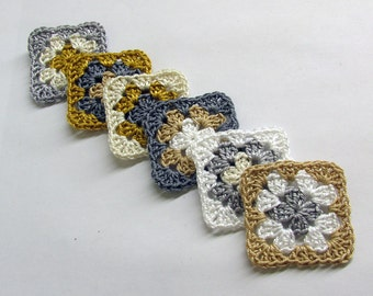 Crocheted granny square appliques neutral mix 1,5 inches (4 cm), 6pc.