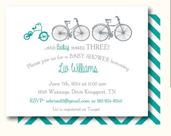 Baby Makes Three Bicycle, Personalized Baby Shower or Birthday Invitations, Set of 10, Professionally Printed