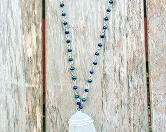 Bohemian Bead Chain for Her Eco Chic Seaglass Pendant