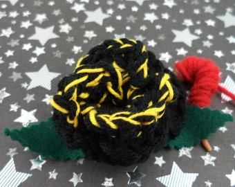 Ace - Crocheted Rose Hair Clip - Black and Yellow (SWG-HC-DWAC01)