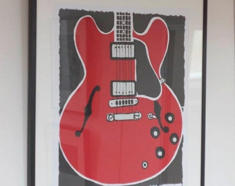 Guitar Print Gibson ES335 - Pop Art Screenprint - Music Art - Large Wall Art