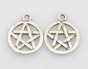 10 Antique Silver Pentagram Round Charm Pendants 16.5mm (B139d)