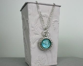Glacier - Blue - Color Shifting - Antique Silver Faux Pocketwatch Necklace