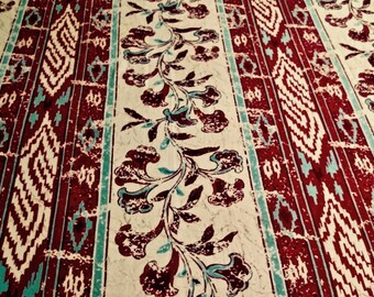 "Vintage Tablecloth 56"" x 98"" Cree par Fardis Mandalay (1994 fabric)"