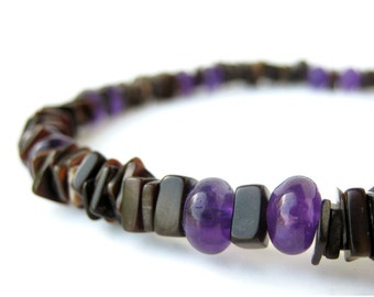 Mens beaded necklace with black shell and real amethyst. - Midnight Amethyst Light