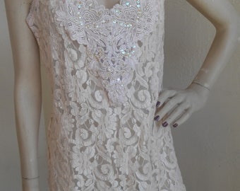 Sheer Lace Nightgown Nightie Chemise Romantic Size Small Vintage Pink Beads Sequins