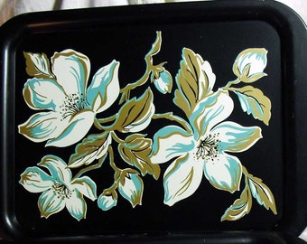 Vintage mid century serving trays turquoise gold and white magnolias on black metal - Set of 4 - Retro kitchen
