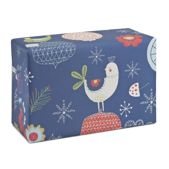 FOLK CHRISTMAS. Wrapping paper. Folk style. Dark blue background. Birds folklore. For her, for children. For Mom. For nana.