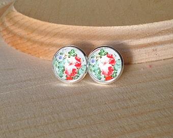 Rose Earrings, Rose Stud Earrings, Spring Earrings, Stud Earrings, Gifts for Women, Hypoallergenic, Dot Earrings, Rose, Flower, 12mm, studs