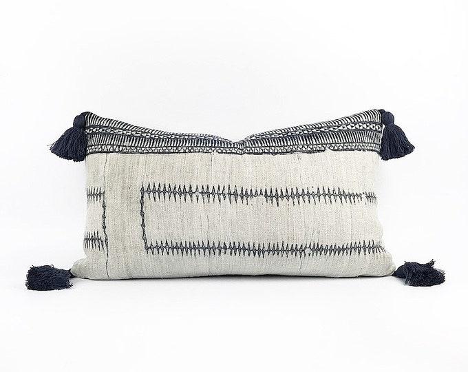 Vintage Hemp Hmong Indigo Batik Lumbar Tassel Pillow Cover 14x24