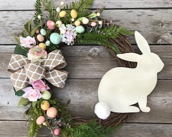 Easter Wreath, Spring Bunny Wreath, Easter Egg Decor