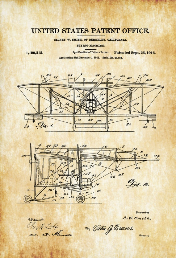 1916 smith flying machine patent airplane blueprint vintage 1916 smith flying machine patent airplane blueprint vintage aviation art airplane art pilot gift aircraft decor airplane patent malvernweather Image collections