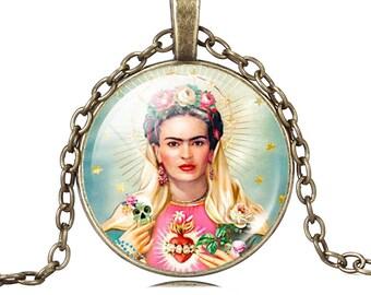 Pendant Frida Kahlo Sacred Heart Necklace Frida Frida image glass cabochon skulls