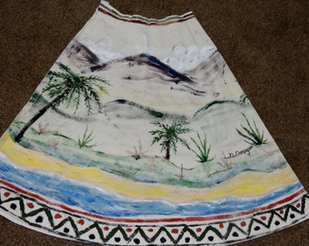 Hand Painted and Artist Signed Muslin Summer Skirt Size S