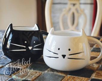 ORIGINAL - CUSTOM TEXT - Cute Cat Mug - White / Black - Hand written Mug - Personalize with your custom text -12 oz - Adorable Cat Mug - Tic