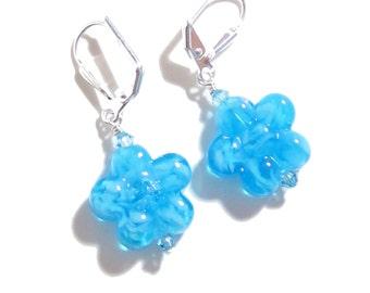 Murano Glass Aqua Blue Flower Silver Earrings, Sterling Leverback Earrings, Venetian Jewelry, Italian Jewelry, Clip On Earrings For Women