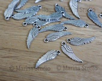 5 jolies ailes trés détaillées en argent vieilli - argent ancien 17x5mm ms00275