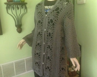 Sweater, women's sweater, cardigan, crochet, L to XL  bust, long, extra long, women's clothing, women's fashions, sweaters