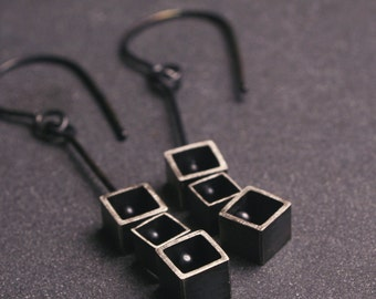 Sterling silver geometric square kinetic earrings