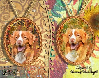 Nova Scotia Duck Tolling Retriever Jewelry Pendant - Brooch Handcrafted Porcelain by Nobility Dogs - Gustav Klimt and Van Gogh