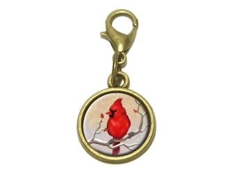 Cardinal In Winter Cute Bracelet Pendant Charm
