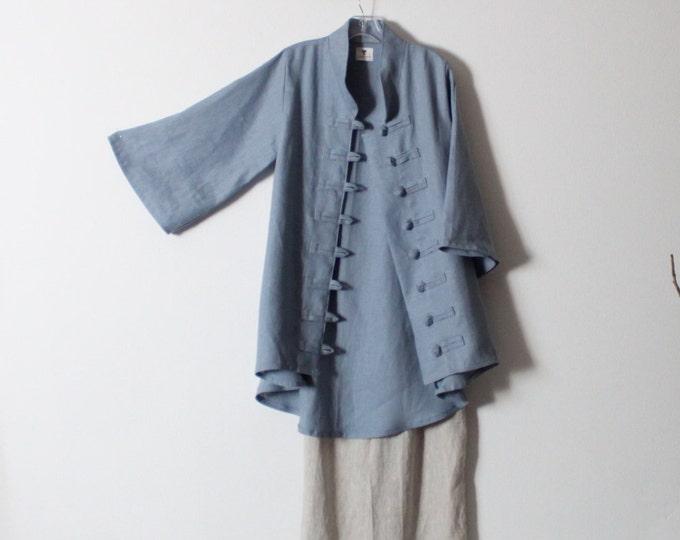 ready to wear size M icy blue heavy linen jacket / one of the kind icy blue linen jacket / only one left / long linen jacket