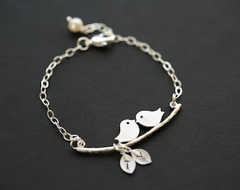 Bird on branch bracelet,initial leaf bracelet,stamped monogram bracelet,family initials,Mother's day gift,anniversary gift,baby shower gift