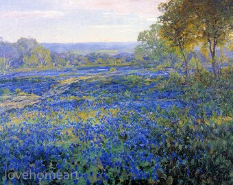 Handpainted fields of bluebonnets By Julian Onderdonk Landscape Oil Painting Reproduction For Home Decoration Or Gift