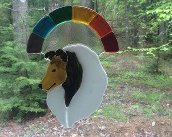 Now Accepting Orders !  For Rough Collie Glass Suncatcher - Sable Tri or Blue Merle Rainbow - from crystalcaveglassart