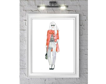 Fashion Illustration Watercolor Painting Print  --  Home/office decor and wall art, Fashion prints