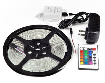 16' LED Light Strips for almost anywhere! 5050 rgb lights with 24 Key IR wireless remote.  Great for RV, boat, kitchen, decks,