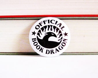 Book Pinback Buttons Official Bookdragon Librarian Geeky Accessories Badges