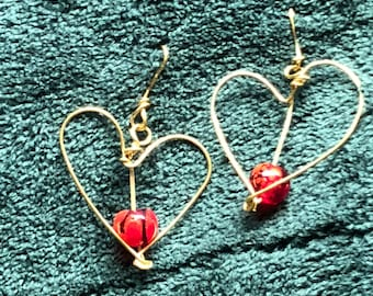 Gold Hearted Red Bead Dangle Earring
