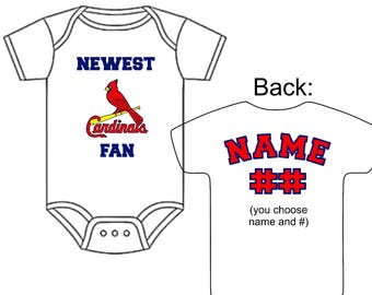 Newest St. Louis Cardinals Fan Custom Made Personalized Baseball Gerber Onesie Jersey You Choose Name Number - Great New Baby or Shower Gift