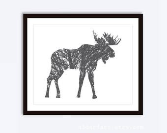 Moose Art Print - Moose Print - Moose Wall Art - 8x10  on 8.5x11 - Rustic Wall Art - Charcoal Grey