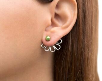Ear jacket earrings, double sided earring jackets, pearl jackets, front back earrings