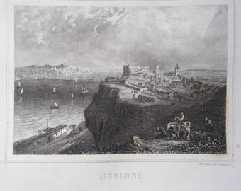 Engraving. Lisbon. Portugal. Published by while in Paris. Engraving of the 19th century. (1819-1859)