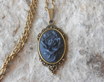 Beautiful Black Rose Cameo Necklace - Bronze Setting, Bronze Chain - Unique, Mourning, Goth