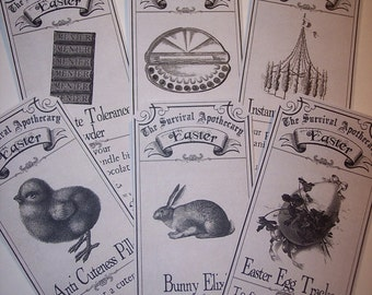 Easter Survival Steampunk  Apothecary Labels Set of 6