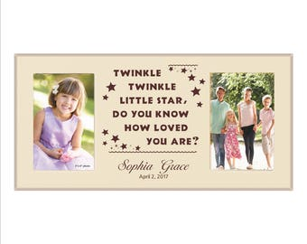 "Personalized Baby Photo Frame, ""Twinkle twinkle little star, do you know how loved you are?"" Baby Picture Frame Gift, Baby Shower Gift"