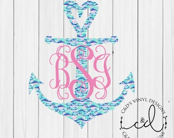 Anchor Monogram Decal - Pattern Anchor Decal - Anchor Decal - Monogrammed Anchor Decal - Car Decal - Preppy Decal -Anchor Car Decal - Anchor