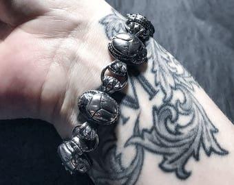 Scarab bracelet in sterling silver (Egyptian beetle)