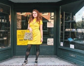 Canary Yellow Mod Shift Dress