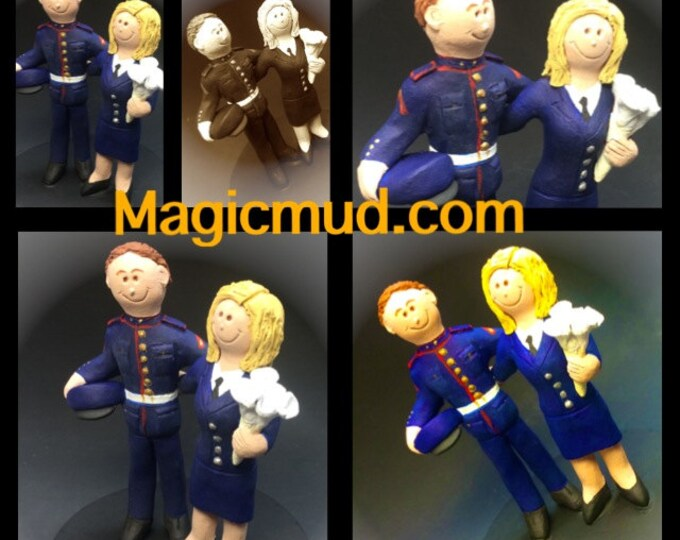 Soldier Bride and Groom Wedding Cake Topper - Custom Made Military Wedding Cake Topper,  Military Dress Blues Wedding Cake Topper